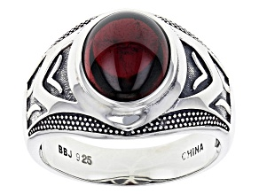 Red Garnet Sterling Silver Mens Ring 6.50ct
