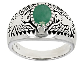 Green Emerald Sterling Silver Gents Ring .90ct