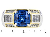 Blue Lab Created Spinel Rhodium Over Sterling Silver Mens Ring 4.35ctw
