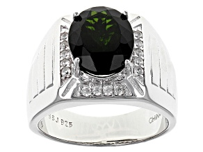 Green Russian Chrome Diopside Sterling Silver Mens Ring 5.74ctw