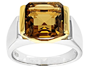 Brown Champagne Quartz Rhodium Over Sterling Silver Two-Tone  Mens Ring 5.98ct
