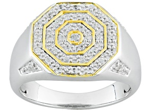 White Zircon Two-Tone Sterling Silver Gents Ring