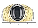Gray Man Made Hematine Two-Tone Sterling Silver Gents Ring