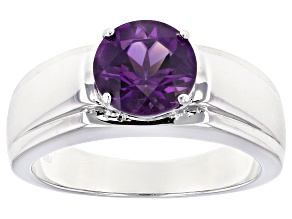 Purple African Amethyst Sterling Silver Men's Solitaire Ring 1.85ct