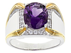 Purple African Amethyst Two-Tone Sterling Silver Men's Ring 2.63ctw