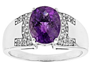 Purple Amethyst Sterling Silver Mens Ring 2.48ctw