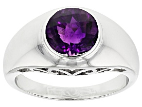 Purple Moroccan Amethyst Rhodium Over Sterling Silver Solitaire gents Ring 2.26ct