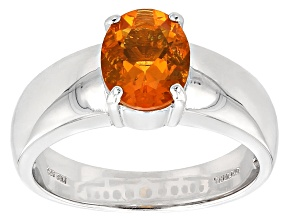 Orange Brazilian Fire Opal Sterling Silver Men's Ring 1.42ct