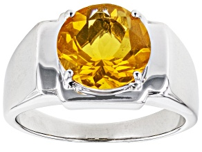 Orange Mexican Fire Opal Sterling Silver Solitaire Men's Ring 2.75ct
