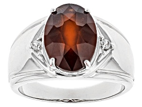 Red Hessonite Garnet Sterling Silver Men's Ring 5.72ctw