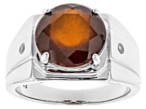 Red Hessonite Garnet Sterling Silver Men's Ring 5.89ctw