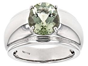 Green Prasiolite Sterling Silver Mens Ring 2.89ct