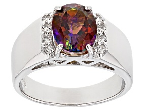 Multi-color Cosmopolitan Beyond™ Mystic Topaz® Silver Men's Ring 2.90ctw