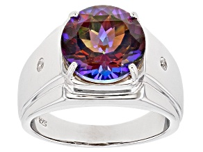 Multicolor Cosmopolitan Beyond™ Mystic Topaz® Rhodium Over Silver Mens Ring 5.85ctw