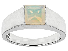 Ethiopian Opal Sterling Silver Men's Solitaire Ring .90ct