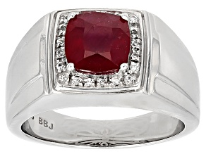 Mahaleo Ruby Rhodium Over Sterling Silver Gents Ring 2.61ctw