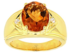 Orange Madeira Citrine Sterling Silver Gents Ring 3.23ctw