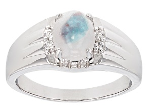 Blue Paraiba Tourmalinated Quartz Sterling Silver Gents Ring .11ctw