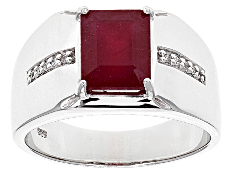 Mahaleo Ruby Sterling Silver Gents Ring 4.14ctw