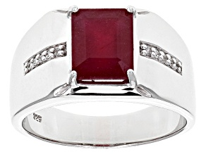 Red Ruby Rhodium Over Sterling Silver Men's Ring 4.14ctw