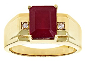Red Mahaleo® Ruby 18k Yellow Gold Over Sterling Silver Men's Ring 4.13ctw