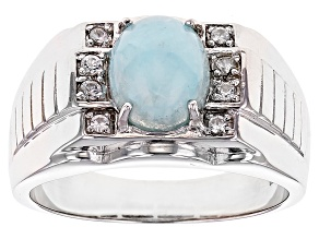 Blue Hemimorphite Sterling Silver Men's Ring .17ctw