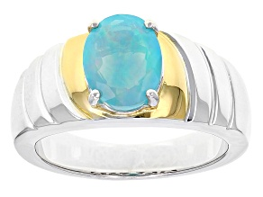 Blue Ethiopian Opal Silver And 18k Gold Over Silver Gent's Ring 1.24ct