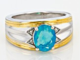 Blue Opal Silver And18k Gold Over Silver Two-Tone Men's Ring 1.27ctw