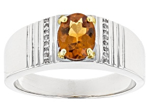 Orange Hessonite Silver Gents Ring 1.41ctw