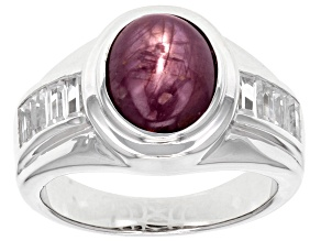 Red Star Ruby Rhodium Over Sterling Silver Ring 6.59ctw