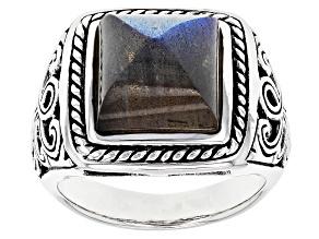 Gray Labradorite Sterling Sivler Gent's Ring