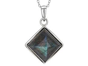 Gray Labradorite Silver Pendant With Chain