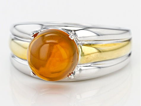 Orange Fire Opal 18k Gold Over Silver Two-Tone Gent's Ring 2.49ct