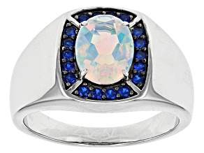 Multicolor Lab Created Opal Sterling Silver Ring 1.31ctw