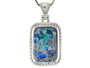 Multicolor Australian Mosaic Opal Triplet Rhodium Over Silver Pendant With Chain