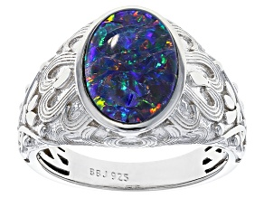 Multi-color Australian Opal Triplet Rhodium Over Sterling Silver Gent's Ring