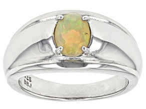Yellow Honey Opal Sterling Silver Gents Ring .55ct