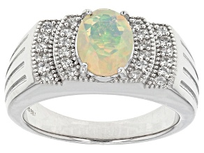 Multicolor Ethiopian Opal Sterling Silver Gent's Ring 1.03ctw