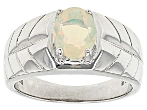 Multicolor Ethiopian Opal Sterling Silver Gents Ring .90ct
