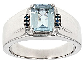 Blue aquamarine sterling silver mens ring 1.59ctw