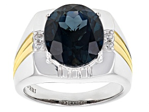 London Blue Topaz Two-Tone Sterling Silver Men's Ring 8.61ctw