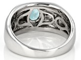 Blue Hemimorphite Sterling Silver Gents Ring 1.43ctw