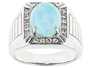 Blue Hemimorphite Sterling Silver Men's Ring .32ctw