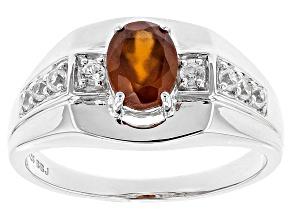 Orange Hessonite Sterling Silver Mens Ring 1.56ctw