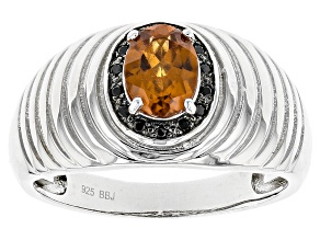 Orange Hessonite Sterling Silver Ring 1.24ctw