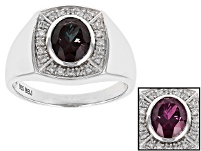 Color Change Lab Created Alexandrite Rhodium Over Sterling Silver Mens Ring 2.04ctw