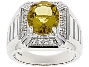 Champagne quartz rhodium over sterling silver men's ring 4.75ctw