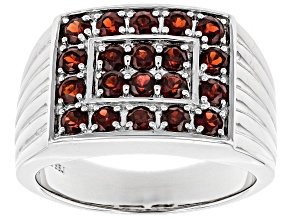 Red garnet rhodium over sterling silver men's ring 1.87ctw