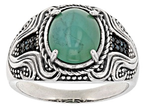 Blue Opal Sterling Silver Gents Ring .06ctw