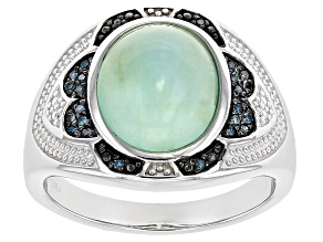 Blue Opal Sterling Silver Gents Ring .09ctw